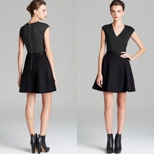 Rebecca Taylor Tweed Combo Dress In Black